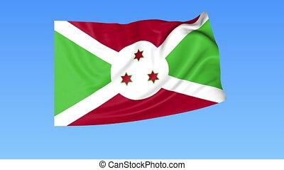 Waving flag of Burundi, seamless loop. Exact size, blue...