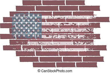 concept vector illustration with USA flag on the brick wall