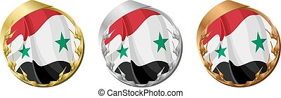Medals Syria - A gold, silver and bronze medal with the flag...