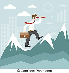 concept flat design illustration with businessman ,spyglass and mountains