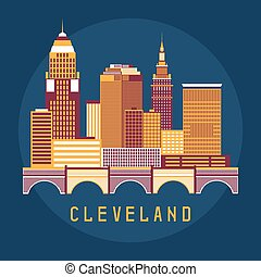 Cleveland Ohio Usa flat design vector illustration of...