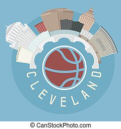 Cleveland Ohio Usa flat design vector illustration with...