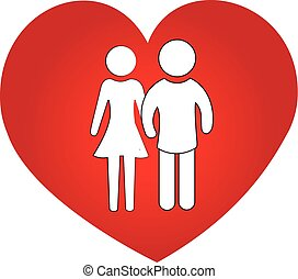 Couple love heart symbol logo