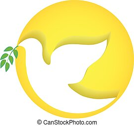 Dove peace vector logo - Dove peace symbol vector logo
