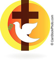 Holy Spirit dove and cross logo illustration