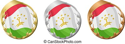 Medals Tajikistan - A gold, silver and bronze medal with the...