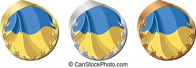 Medals Ukraine - A gold, silver and bronze medal with the...