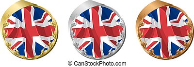 Medals United Kingdom - A gold, silver and bronze medal with...