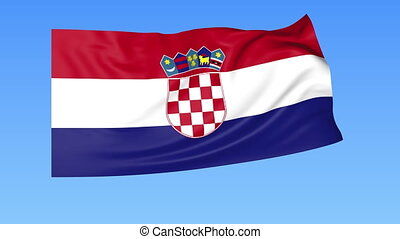 Waving flag of Croatia, seamless loop. Exact size, blue...