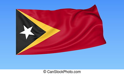 Waving flag of East Timor, seamless loop. Exact size, blue...