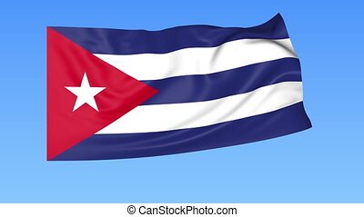 Waving flag of Cuba, seamless loop. Exact size, blue...