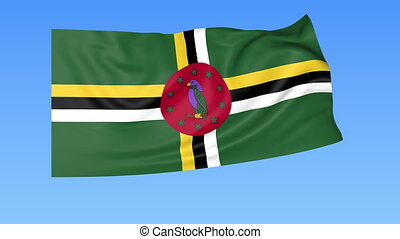 Waving flag of Dominica, seamless loop. - Flapping flag of...