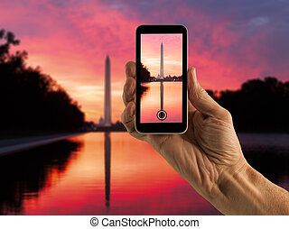 Snapshot of Washington Monument at sunrise