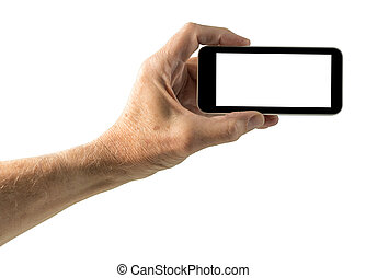 Isolated image of hand with smartphone screen - Image of...