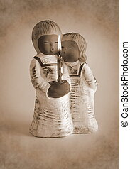 Angels ceramic candlestick - Ceramic candlestick in the form...