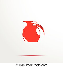 Decanter. Vector icon. - Red and white image on a light...