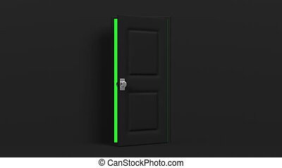Black Door With Green Chroma Key. 3DCG render Animation....