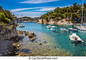 The sailing yachts in sea fjord - National park of Calanques...