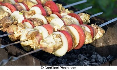 Barbecue with delicious grilled meat on grill. Pork meat...