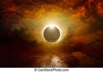 Full sun eclipse in dark red sky, end of world - Dramatic...