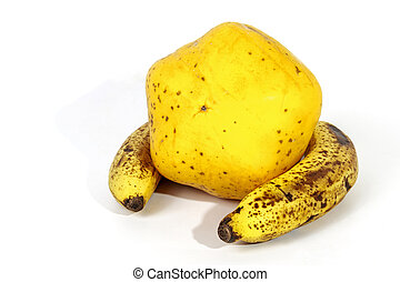 Yellow Paw Paw Encased by Two Ripe Speckled Bananas - Studio...
