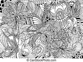 coloring pages - Black and white abstraction with flowers...
