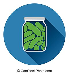 Canned cucumbers icon Flat color design Vector illustration...
