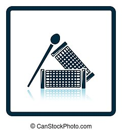 Hair curlers icon. Shadow reflection design. Vector...