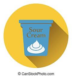Sour cream icon. Flat color design. Vector illustration.