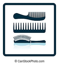 Hairbrush icon. Shadow reflection design. Vector...