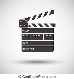 Movie clap board icon on gray background, round shadow...