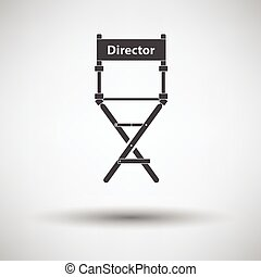 Director chair icon on gray background, round shadow. Vector...