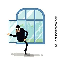 isolated illustration thief climbs through the window -...