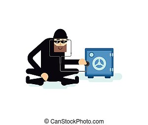 isolated illustration thief hacks safe - illustration thief...