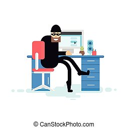 isolated illustration hacker sits near computer - Stock...