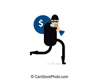 isolated illustration thief with bag of money - Stock Vector...