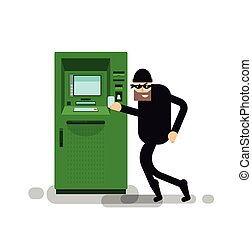 isolated illustration thief steals money from ATM - Stock...
