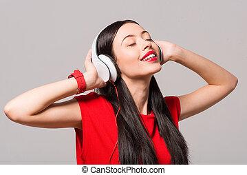 mujer, Música, encantado, Escuchar, alegre