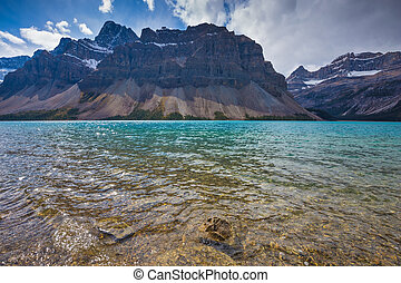 The lake surrounded by Canadian Rocky Mountains