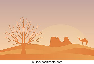 Horizontal banner with lonely desert isolated vector illustration.