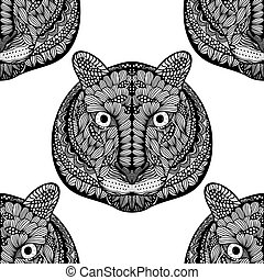 Seamless Tiger pattern - Black and white Seamless Tiger...