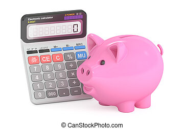savings concept with piggy bank and calculator, 3D rendering