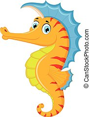 Cute seahorse cartoon posing - vector illustration of Cute...