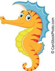 Cute seahorse cartoon posing