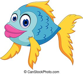 cute fish cartoon swiming - vector illustration of funny...