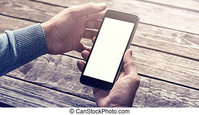Smartphone in hands. Clipping path included. - Smart phone...