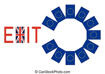 Flags of Europe and United Kingdom with word Exit - Brexit...