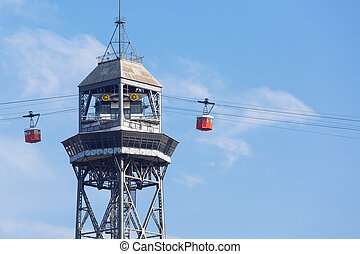 Tower for cable car in Barcelona