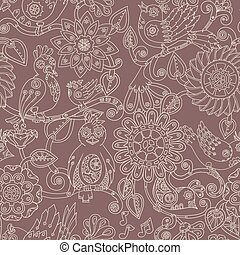 Doodle seamless background with steampunk birds and flowers....
