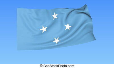Waving flag of Federal States of Micronesia, seamless loop....